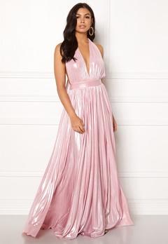 Goddiva Deep V Neck Metallic Dress Pink Bubbleroom.se