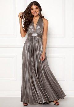 Goddiva Deep V Neck Metallic Dress Silver Bubbleroom.se