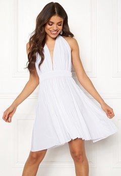 Goddiva Deep V Neck Skater Dress White Bubbleroom.se