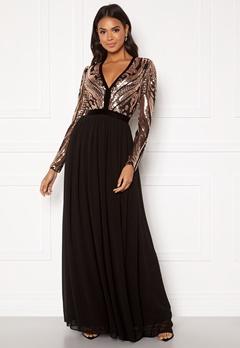 Goddiva Deep V Sequin Maxi Dress Champagne Bubbleroom.se