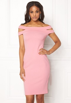 Goddiva Double Bardot Midi Dress Pink Bubbleroom.fi