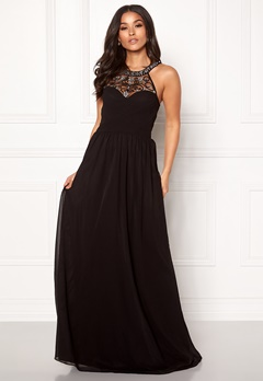 Goddiva Embellished Chiffon Dress Black Bubbleroom.se