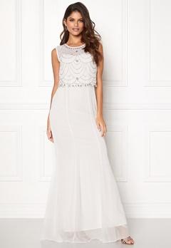 Goddiva Embellished Chiffon Dress Cream Bubbleroom.se
