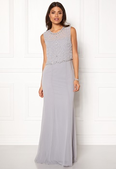 Goddiva Embellished Chiffon Dress Grey Bubbleroom.no