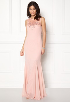 Goddiva Embellished Chiffon Dress Nude Bubbleroom.fi