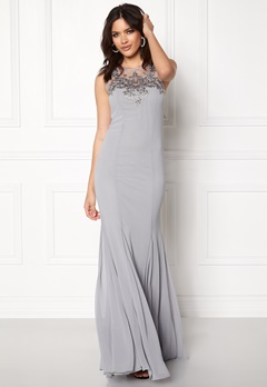 Goddiva Embellished Chiffon Dress Silver Bubbleroom.fi