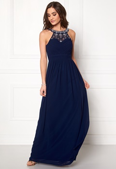 Goddiva Embellished Chiffon Maxi Dress Navy Bubbleroom.se