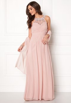 Goddiva Embellished Chiffon Maxi Dress Nude Bubbleroom.se