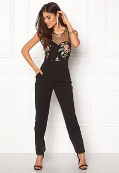Goddiva Embroidered Jumpsuit Black Bubbleroom.fi