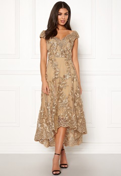 Goddiva Embroidered Lace Dress Gold Bubbleroom.se