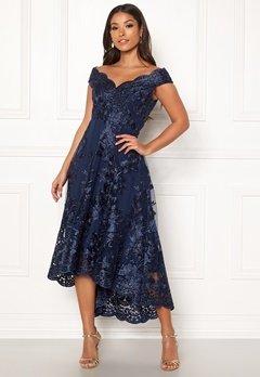Goddiva Embroidered Lace Dress Navy Bubbleroom.se