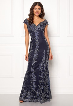 Goddiva Embroidered Lace Dress Navy/silver Bubbleroom.se