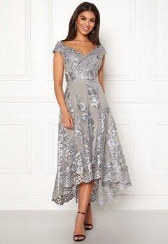 Goddiva Embroidered Lace Dress Silver Bubbleroom.se