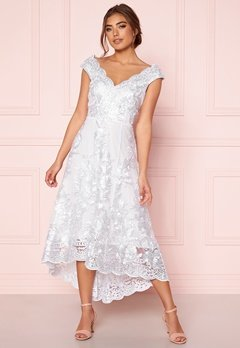 Goddiva Embroidered Lace Dress White Bubbleroom.se