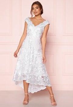Goddiva Embroidered Lace Dress White bubbleroom.se