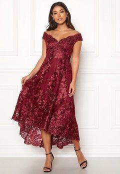 Goddiva Embroidered Lace Dress Wine Bubbleroom.se