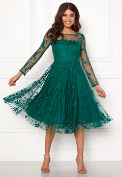 Goddiva Embroidered Midi Dress Emerald Bubbleroom.se
