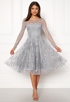 Goddiva Embroidered Midi Dress Grey Bubbleroom.se