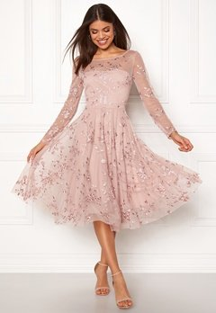 Goddiva Embroidered Midi Dress Misty Rose Bubbleroom.se