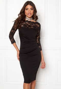 Goddiva Fitted Midi Dress Black Bubbleroom.fi