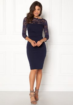 Goddiva Fitted Midi Dress Navy Bubbleroom.no