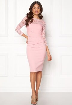 Goddiva Fitted Midi Dress Pink Bubbleroom.se
