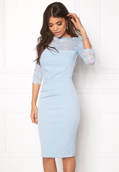 Goddiva Fitted Midi Dress Powder Blue Bubbleroom.fi
