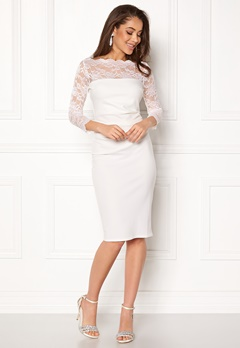 Goddiva Fitted Midi Dress White Bubbleroom.se