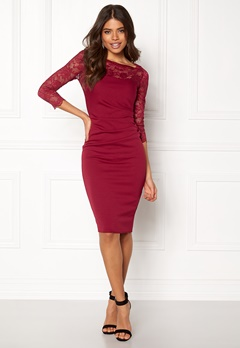 Goddiva Fitted Midi Dress Wine Bubbleroom.dk