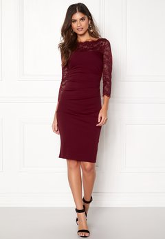 Goddiva Fitted Midi Dress Wine Bubbleroom.se