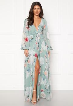 Goddiva Floral Chiffon Maxi Dress Sage Green Floral Bubbleroom.se