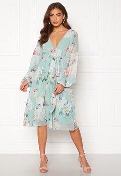 Goddiva Floral Long Sleeve Chiffon Midi Dress Sage Green Floral bubbleroom.se