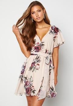 Goddiva Floral Flutter Dress Latte Bubbleroom.se