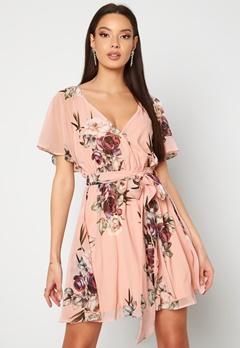 Goddiva Floral Flutter Dress Peach Bubbleroom.se