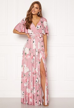 Goddiva Floral Flutter Sleeve Maxi Dress Blush Bubbleroom.se