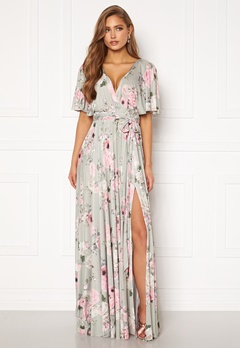 Goddiva Floral Flutter Sleeve Maxi Dress Grey Bubbleroom.se