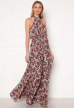 Goddiva Floral High Neck Maxi Dress Black Bubbleroom.se