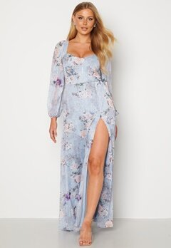 Goddiva Floral Long Sleeve Maxi Dress Blue Bubbleroom.se