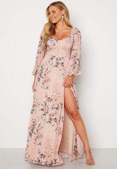 Goddiva Floral Long Sleeve Maxi Dress Blush Bubbleroom.se