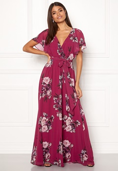Goddiva Floral Sleeve Maxi Dress Berry Bubbleroom.se