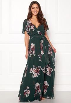 Goddiva Floral Sleeve Maxi Dress Green Bubbleroom.se