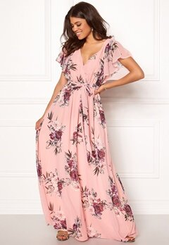 Goddiva Floral Sleeve Maxi Dress Peach Bubbleroom.se