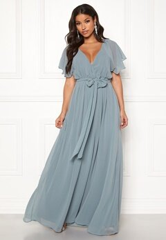 Goddiva Flutter Chiffon Dress Air force Blue Bubbleroom.se
