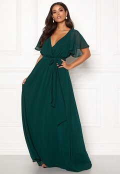 Goddiva Flutter Chiffon Dress Dark green Bubbleroom.se
