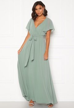 Goddiva Flutter Chiffon Dress Sage Green Bubbleroom.se