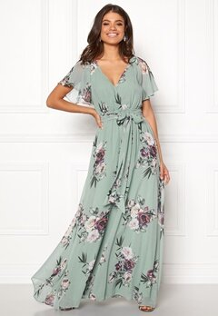 Goddiva Flutter Floral Maxi Dress Duck Egg Bubbleroom.se
