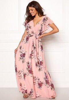 Goddiva Flutter Floral Maxi Dress Peach bubbleroom.se