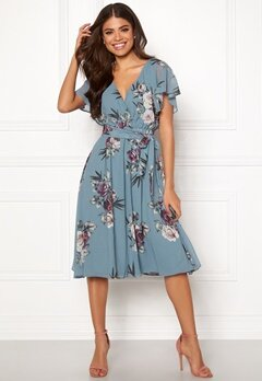 Goddiva Flutter Floral Midi Dress Air force Blue Bubbleroom.se