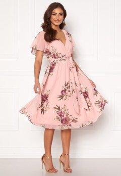 Goddiva Flutter Floral Midi Dress Peach Bubbleroom.se