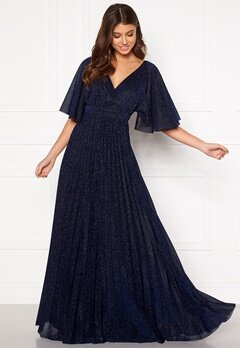 Goddiva Flutter Glitter Dress Navy Bubbleroom.se